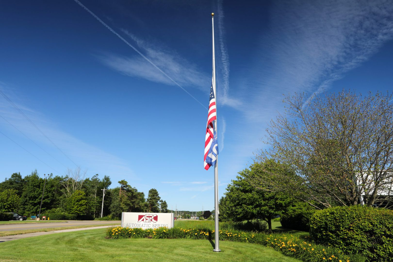 flag pole and sign